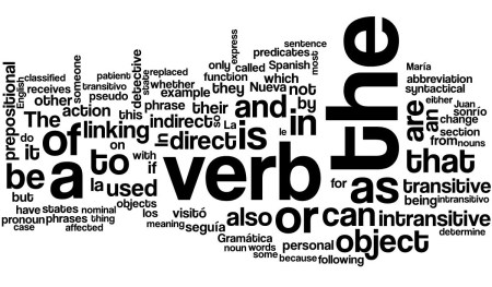 Word cloud of the article syntactical classes of verbs