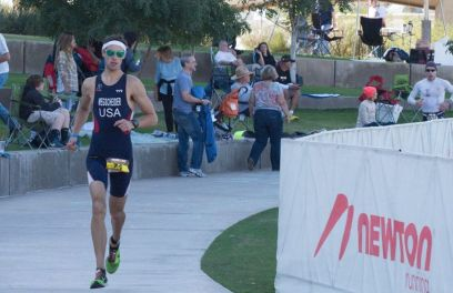 Erich Wegscheider starting the run at the 2013 Ironman Arizona.