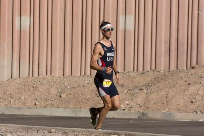 Erich Wegscheider running at the 2013 Ironman Arizona.