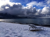 Snowy beach at Lake Tahoe.