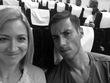 Erich and Christen on a Bullet Train