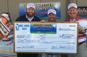 biggest loser golf contest winner Sam Chi with Eric Jones and Andy Morris