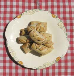 sausage rolls with pastry leaves