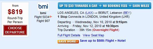 Round-Trip Ticket to Beirut, Lebanon (via Priceline)