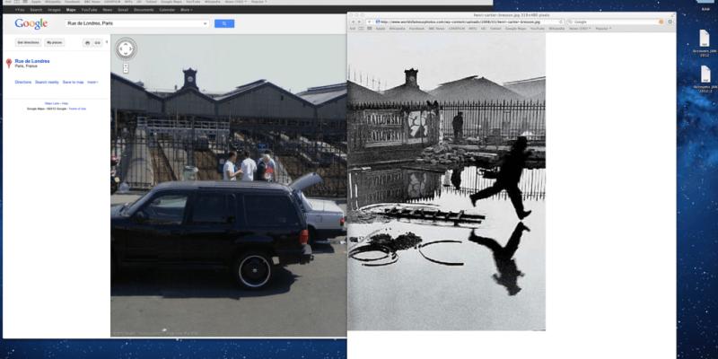 Henri Cartier-Bresson Behind the Gare Saint-Lazare 1932 vs Google Maps 2008