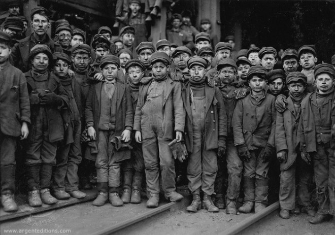 Portrait of child laborers by Lewis Hine
