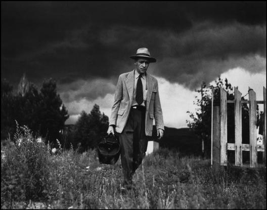 UNITED STATES. Colorado. Kremmling. 1948. Dr Robert CERIANI making his way to visit his patients by foot in their remote villages. Copyright: Magnum Photos