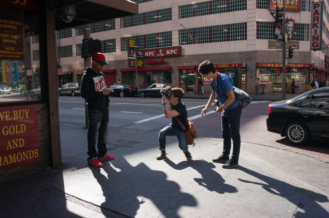 Assisting Young Kim overcome his fear of shooting on the streets in Downtown LA, 2013