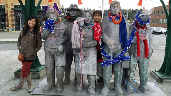 Famous statues that people in Fremont dress up! With Walter and Cindy