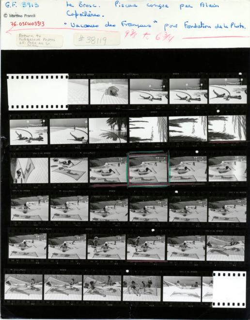 Contact sheet of Martine Franck, Provence-Alpes-Côte d'Azur region. Town of Le Brusc. Pool designed by Alain Capeilleres, 1976. © Martine Franck / Magnum Photos