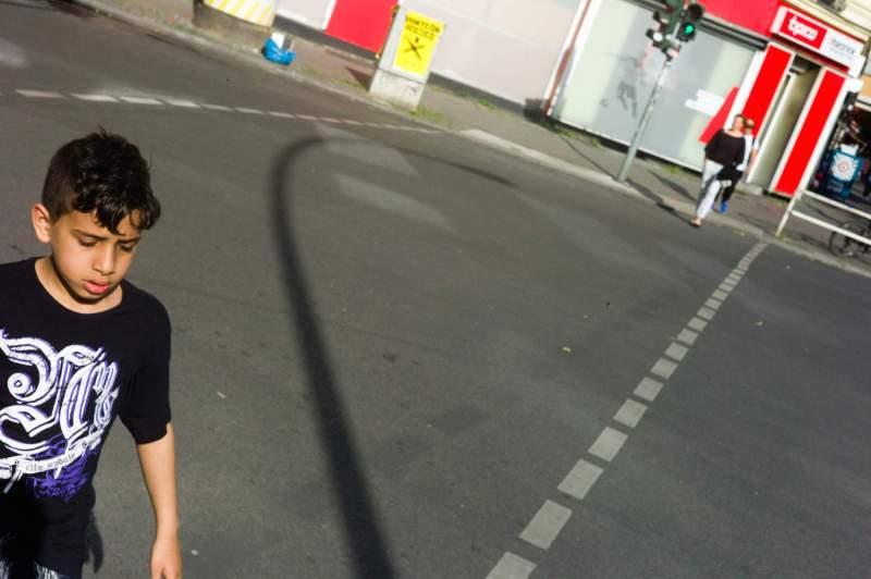 boy on crossing, Berlin, Germany, 2014