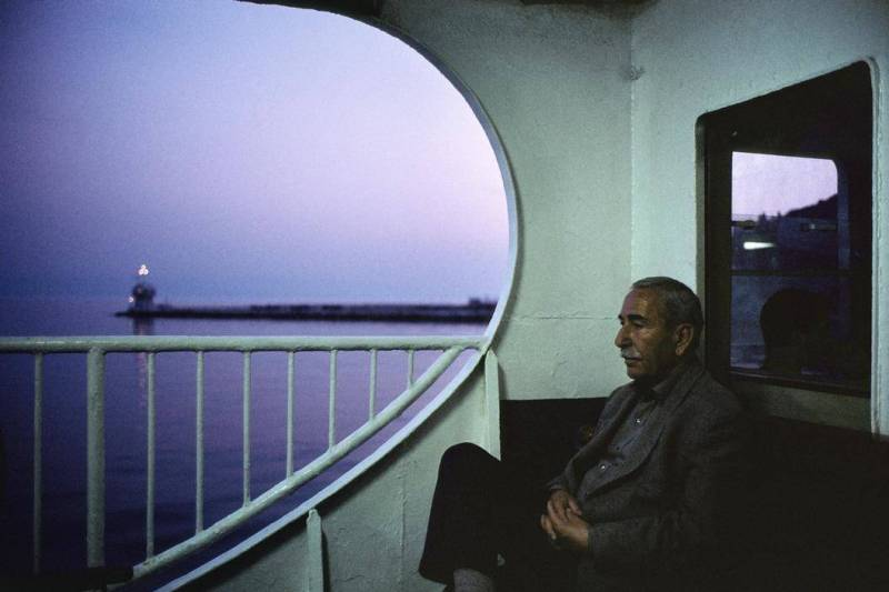TURKEY. Istanbul. 2001. On board a ferry at dusk near the Princess Islands.