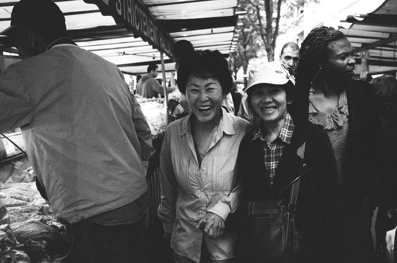The joy my mom and Cindy's mom had going through the farmer's market in Paris for the first time