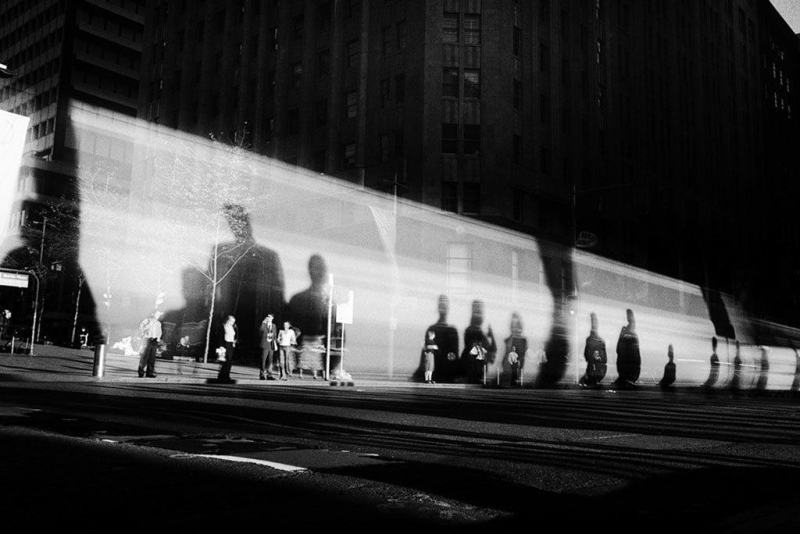 Trent Parke / Sydney. Martin Place, Moving bus. 2002. / (c) Magnum Photos