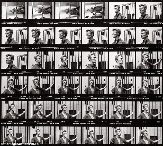 © Estate of Helmut Newton / David Bowie Contact Sheet