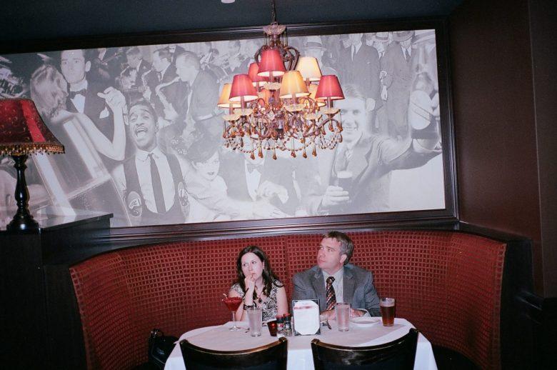 Lansing, 2014 - suits -eric kim street photography - bored couple- flash - kodak portra 400 film