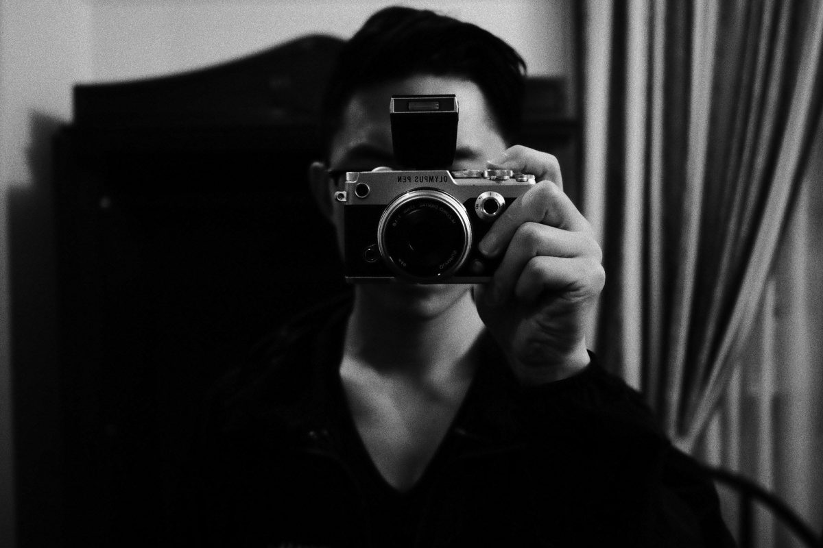 Selfie with Olympus Pen-F (has EVF/LCD screen)