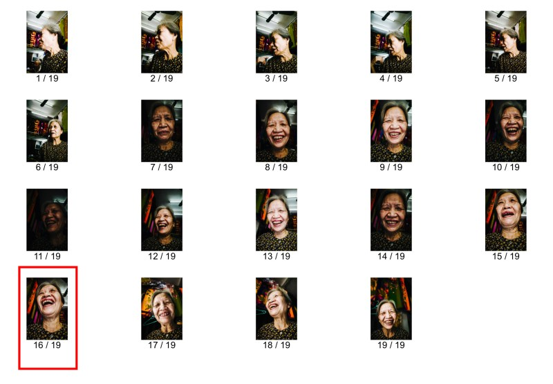 Contact sheet. Laughing lady Hanoi, 2017