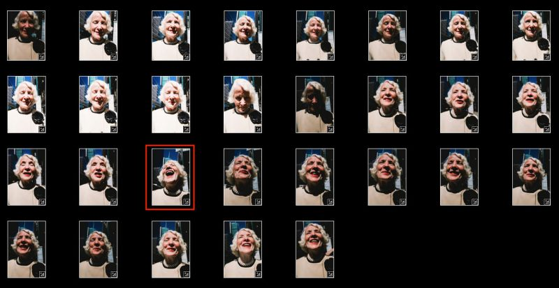 laughing lady contact sheet eric kim