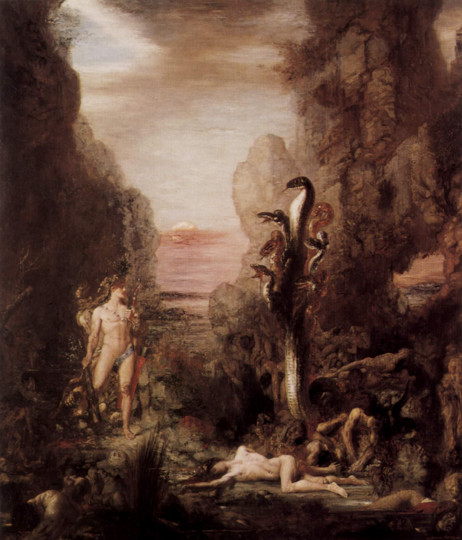 Gustave Moreau's 19th-century depiction of the Hydra, influenced by the Beast from the Book of Revelation