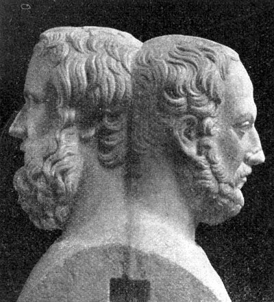 Statue of Herodotus and Thucydides; the two fathers of history.