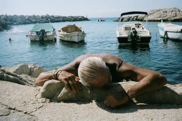 I love the texture of the man's weathered leathery skin. Marseille, 2013 -- Kodak Portra 400