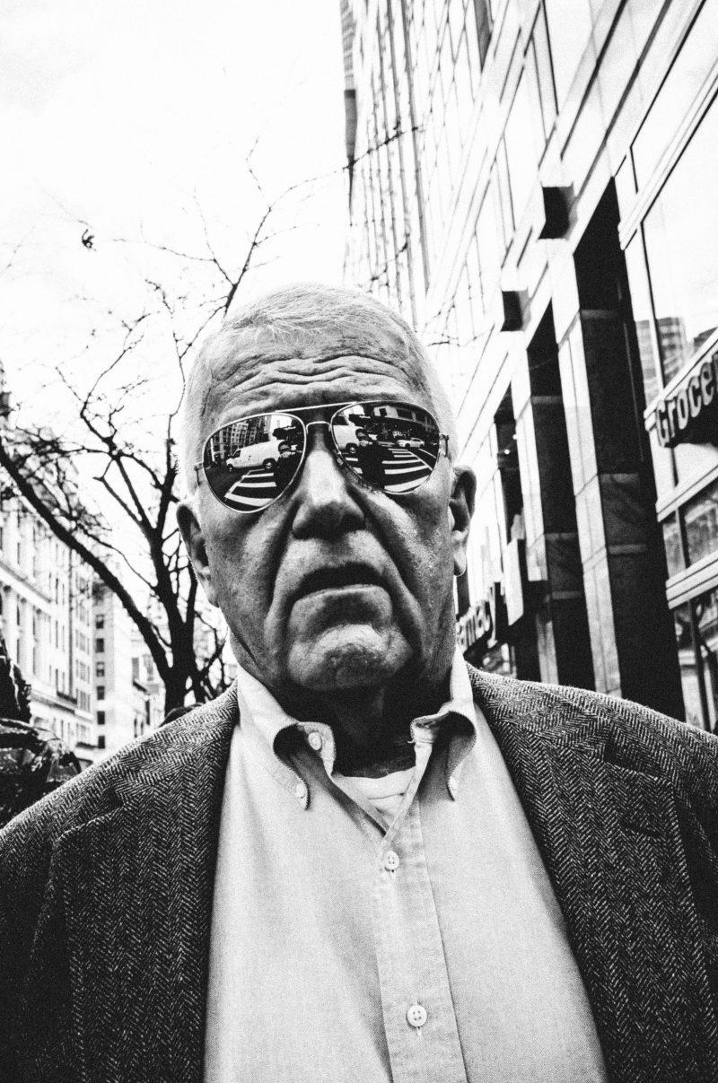 eric kim street photography head on reflection sunglasses nyc new york