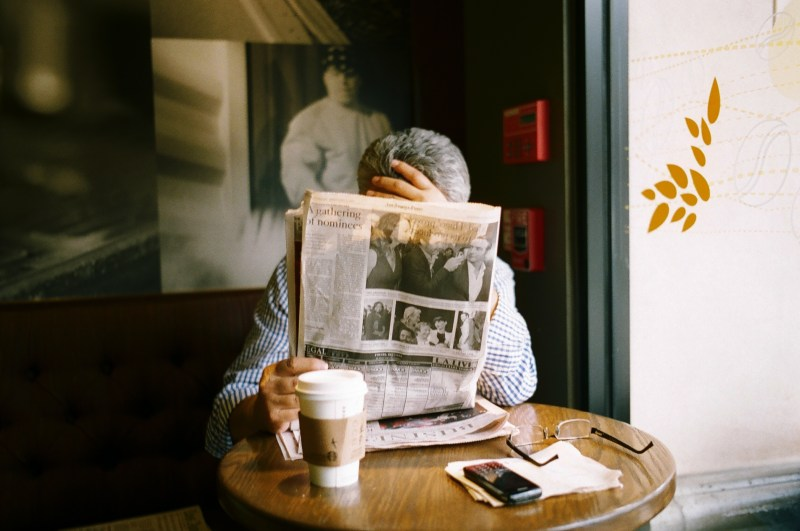 Suit with newspaper. Beverly Hills, 2012