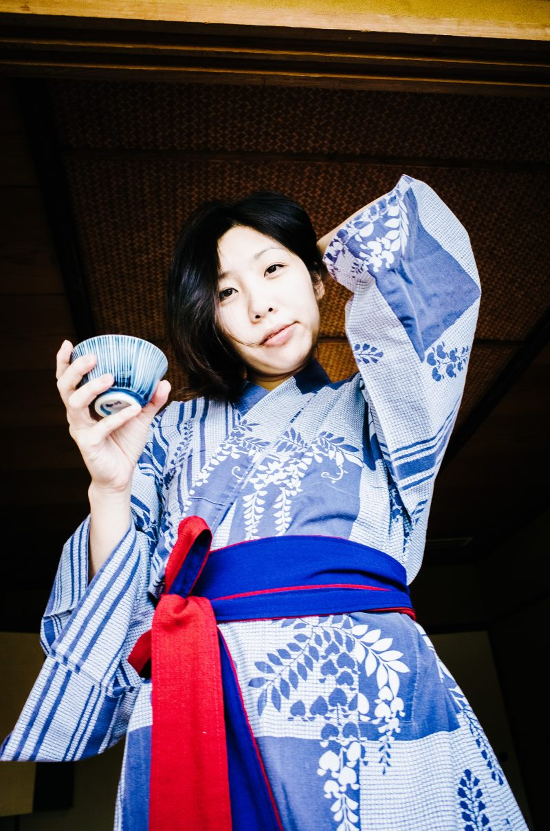 Cindy in Yukata and cup of tea in Ryokan. Uji, Kyoto 2017