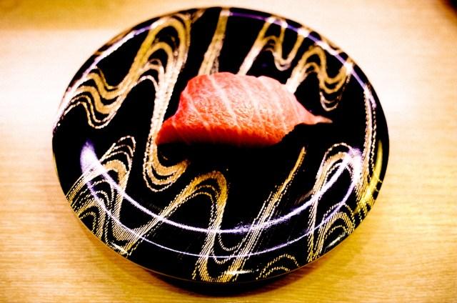 Fatty tuna sashimi, conveyer belt sushi. Kyoto, 2017