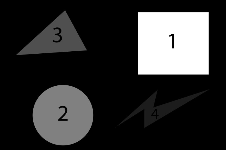 """When we introduce a fourth shape (very dark grey lightning bolt in bottom right corner) we can barely see it — because very dark grey has """"weak"""" figure to ground (contrast) against a black background."""