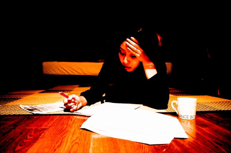 Cindy working on her translation work. Kyoto, 2017.