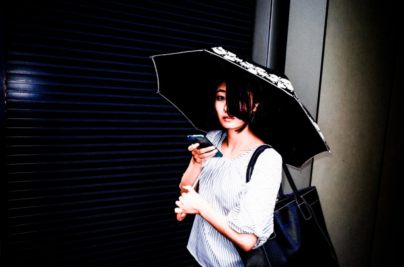 Woman with umbrella. 28mm and flash. Tokyo, 2017