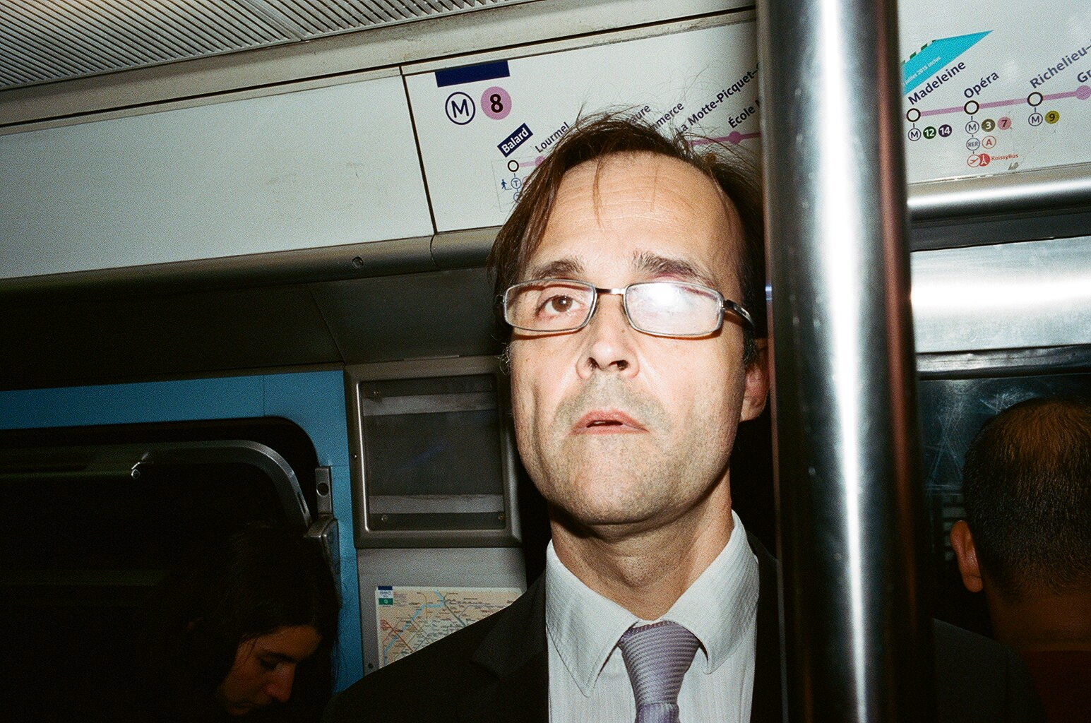 Leica MP + Leica Summicron 35mm f2 ASPH + Kodak Portra 400 + flash in Paris subway.