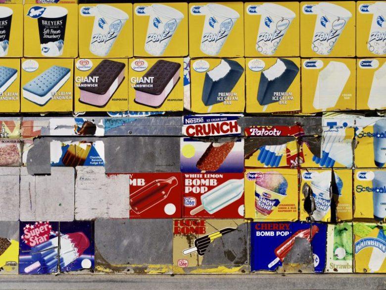Yellow background on ice cream.