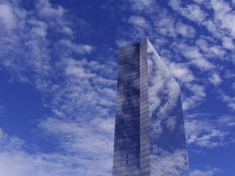 All glass skyscraper. New Jersey, Fort Lee.