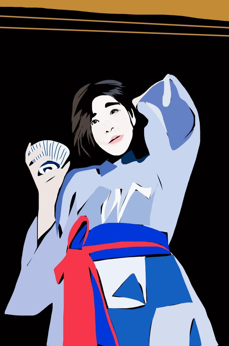 Sketch of Cindy in Yukata.