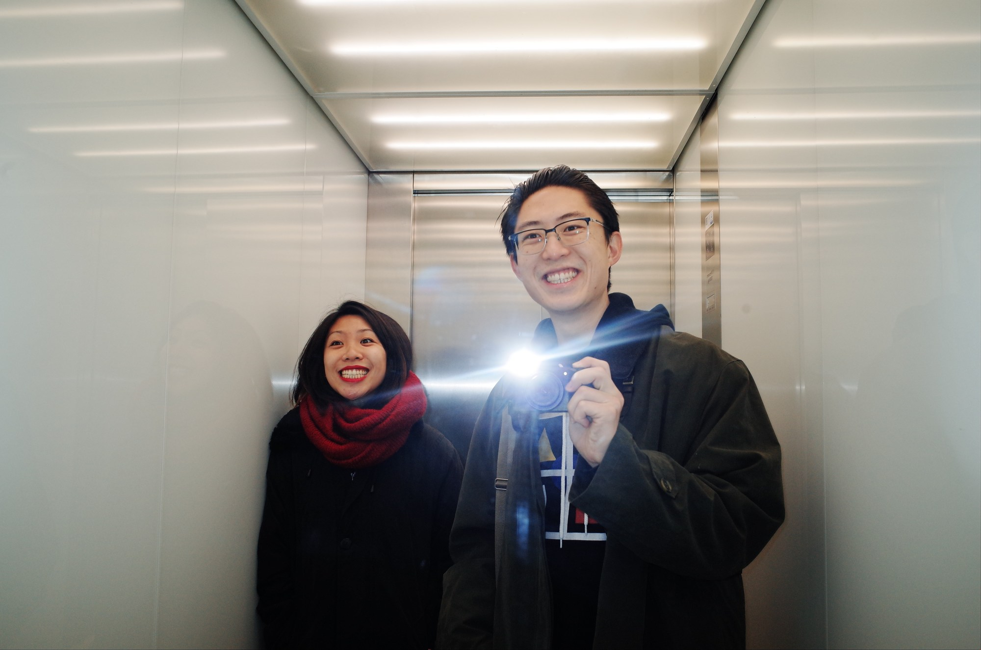Me and Cindy in elevator. Berlin, 2017