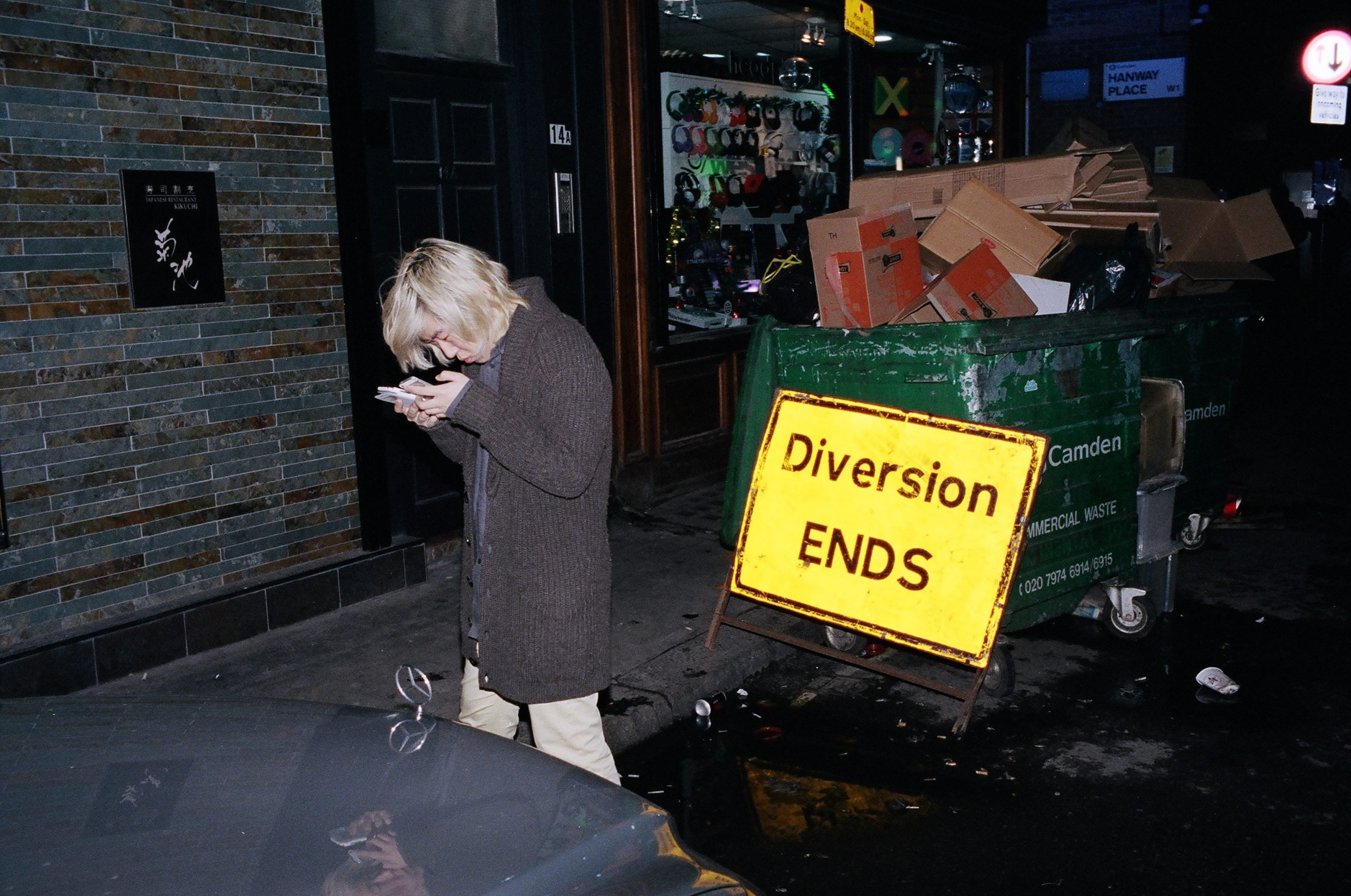 Yellow sign pops out from the scene. London, 2015