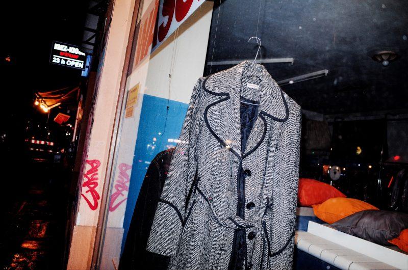 Coat in shop window. Berlin, 2017