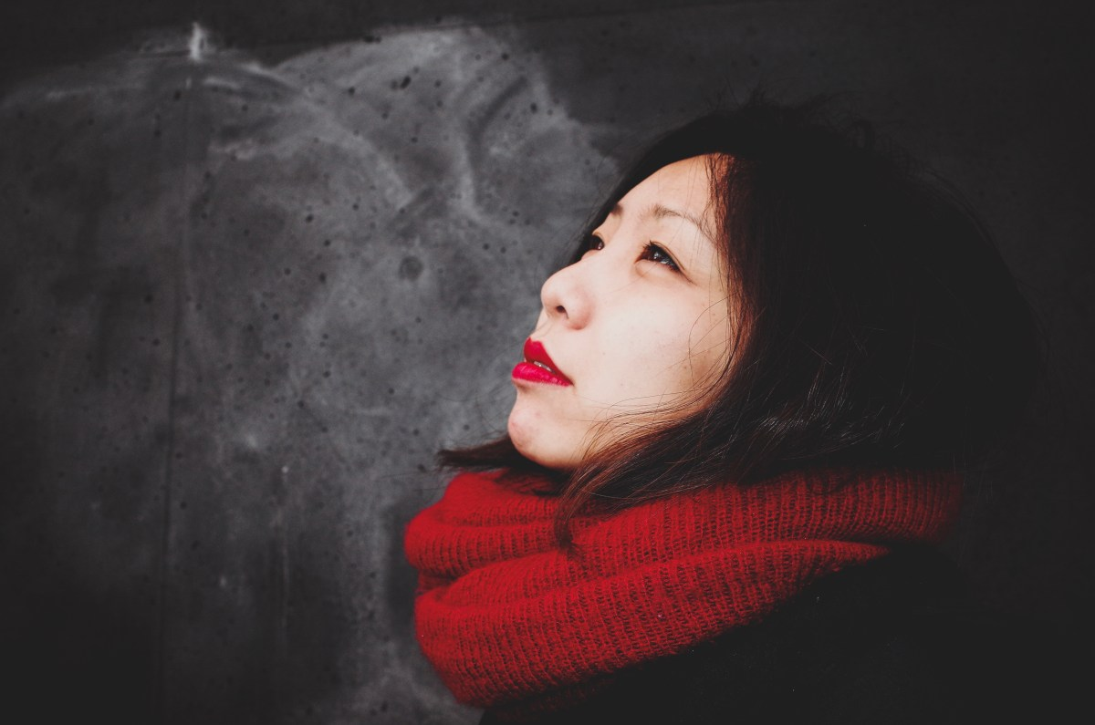 Cindy with red scarf. Berlin, 2017