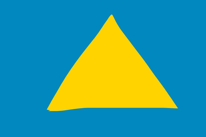 Yellow triangle on blue background.