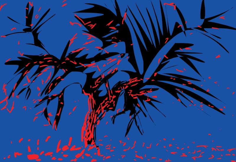Blue background, black tree, red leaves. Abstract by ERIC KIM