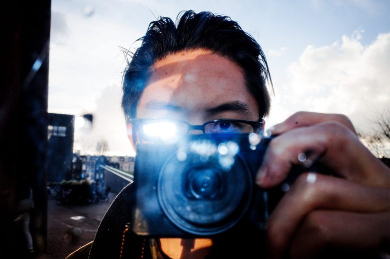 Selfie in Amsterdam with Ricoh GR II.