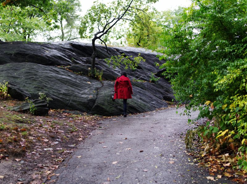 Girl with red jacket. Central Park, nyc, 2017