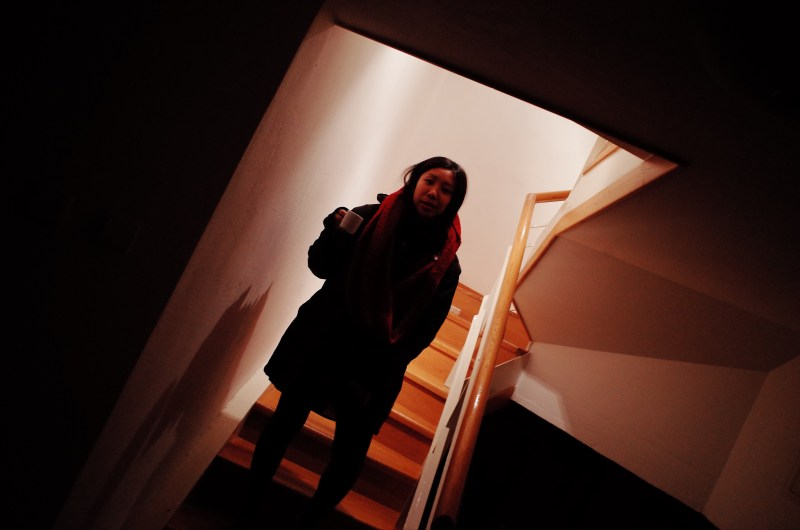 Cindy photographed with dutch angle at home. Prague, 2017