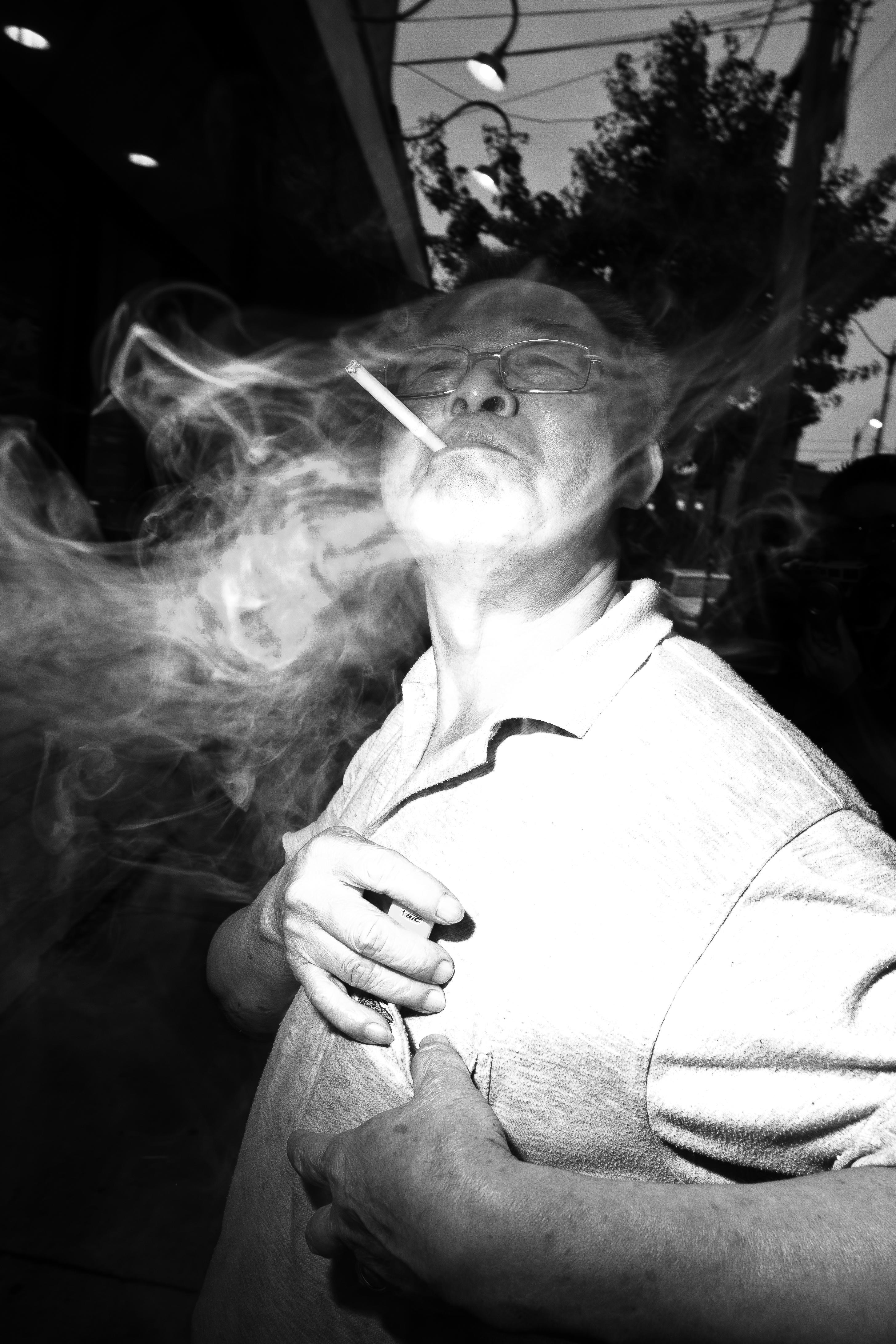Smoke with flash. The smoke adds to the mood.