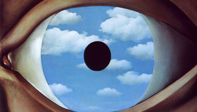1928, the fslse mirror eye in clouds by Rene Magritte