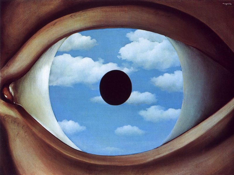 1928, the false mirror eye in clouds by Rene Magritte