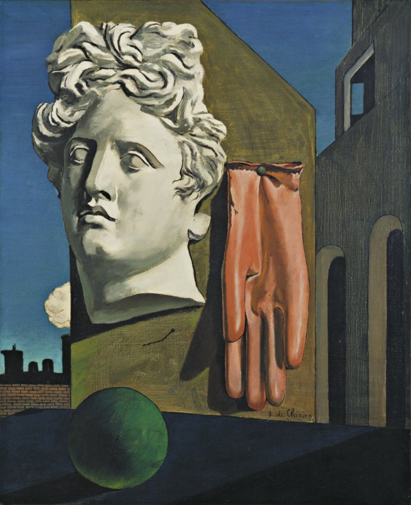 The song of love, 1914 by Giorgio de Chirico. Red glove, and green ball.
